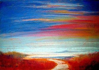 (Spiagge)-pastello-24x34---'08-omaggio-a-Renato-Zero-da-CANZONI-COLORATE---opera-in-vendita